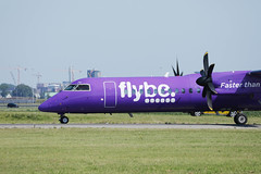Flybe jet, close-up view at Amsterdam Schiphol Airport