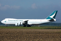 Cathay Pacific Cargo B747 taking off from Amsterdam Airport AMS