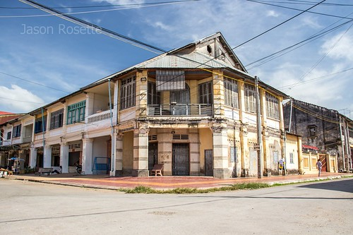 Old Colonial Building on Corner in Kampot, Cambodia