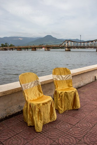 Wrinkled Golden Chairs by the River, Cambodia