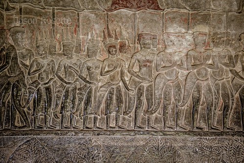 Detail of Procession of Apsara Dancers on Bas Relief, Angkor Wat (#2)