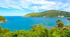 Panorama of Southern Phuket - Nai Harn, Ya Nui, Ao Sane beach and Promthep Cape. October 2019