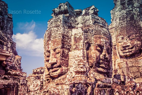 Medium View of Massive Royal Heads at Bayon Temple Complex, Siem Reap