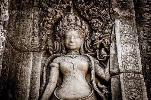 Close up View of Apsara Dancer Carving at Angkor. Siem Reap