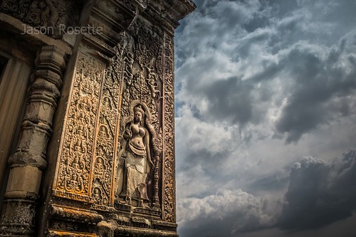 Corner of Hilltop Temple with Apsara Dancer, Angkor Park, Cambodia