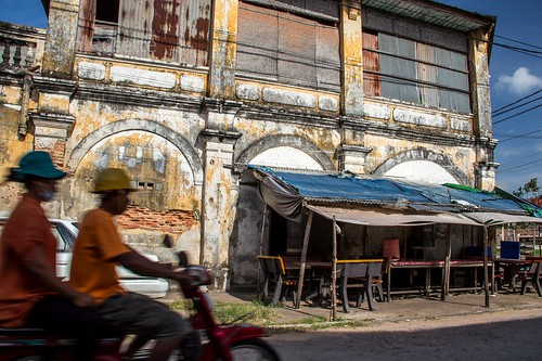 Dilapidated Corner of Colonial Building in Kampot, Cambodia