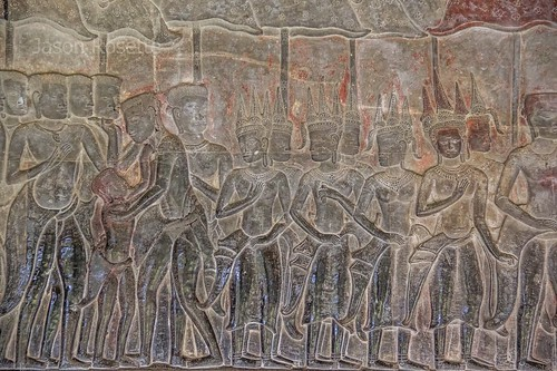 Detail of Procession of Apsara Dancers on Bas Relief, Angkor Wat