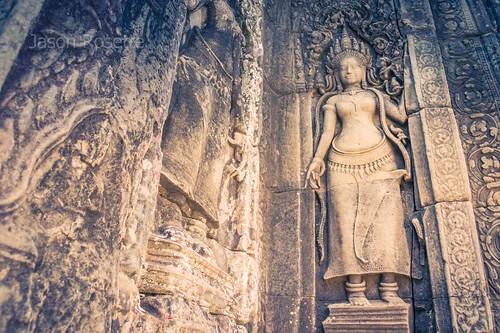 Low Angle View of Apsara Dancer Carving at Angkor. Siem Reap