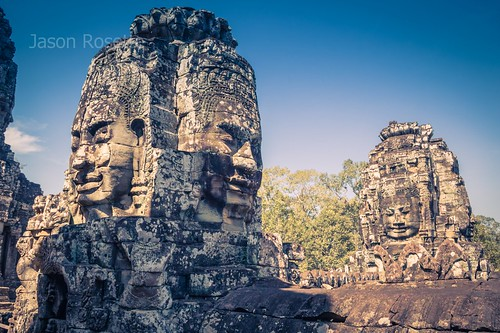 Massive Stone Heads at Bayon Temple Complex, Siem Reap Cambodia