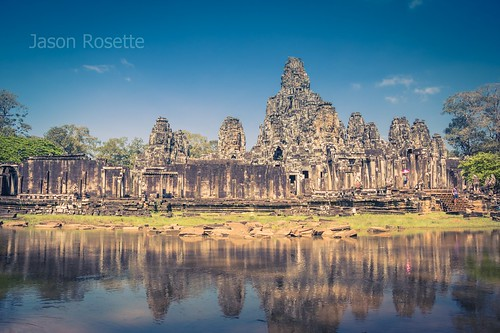 Wide View of Temple Complex at Angkor Wat, with Lake in Front