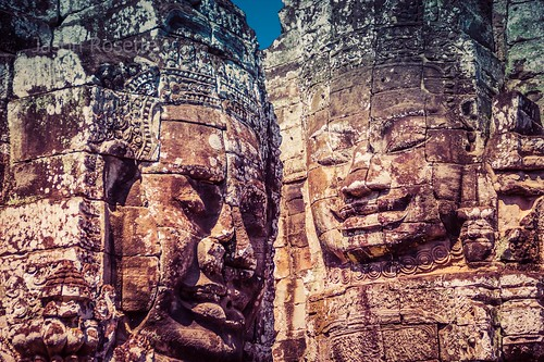 Close Up View of Massive Royal Heads at Bayon Temple Complex, Siem Reap
