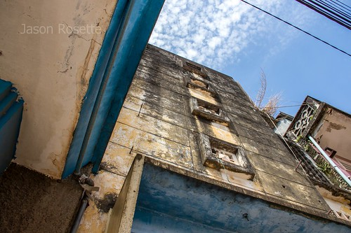 Low Angle View Old Makara Movie Theater in Kampot, Cambodia