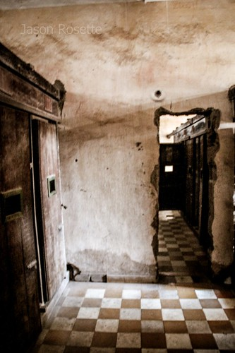 View down improvised corridor, Tuol Sleng genecide museum, Cambodia