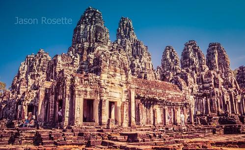 Wide view of Bayon temple at Angkor Wat, Siem Reap