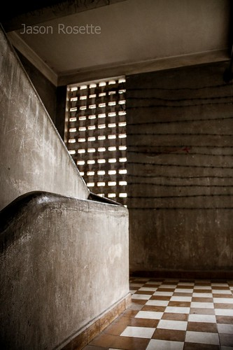 Stairwell and Lighting Grate, Tuol Sleng Genocide Museum Cambodia