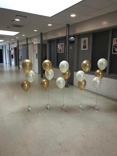 Tafeldecoratie 3ballonnen Diplomering Groen College Barendrecht Geslaagd