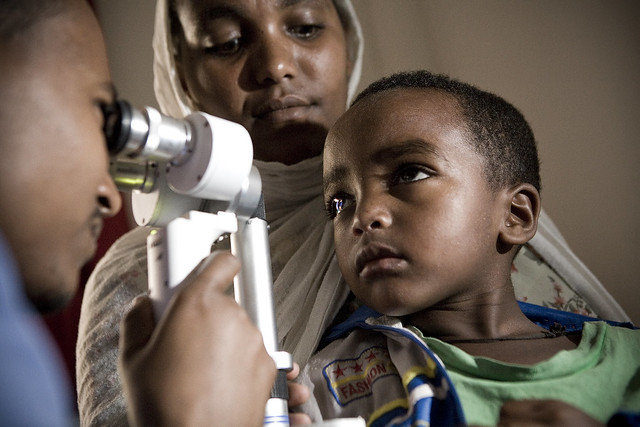 Pediatric cataract examination inside of a clinic at an Orbis International hospital -based training project in Gondar, Ethiopia.
