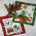 "Quilted Trivets (2)  Set #1  $25  Christmas Cats  7"" square.  Click here for more info"