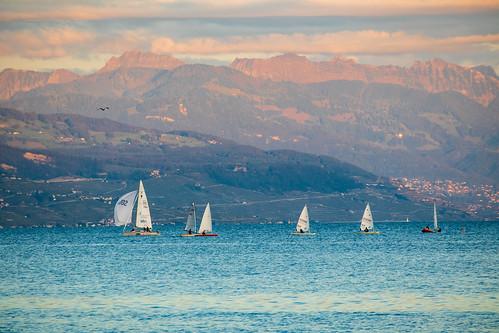 Boats on the lake Geneva