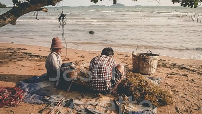 Seaweed Gatherers on the Island