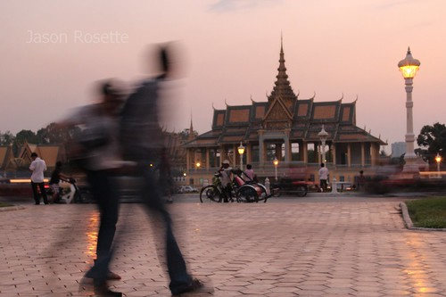Royal Palace at Dusk with Pedestrians, Cambodia