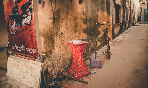 Abandoned Red Pedestal in an Alley in Koh Kong, Cambodia (horizontal)