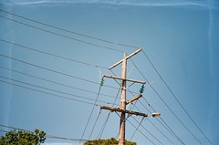 A power lines pole