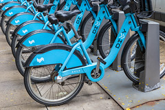 Chicago's bike share service Divvy has hundreds of docking stations where bikes can easily be unlocked through an app for immediate use