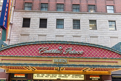 The marquee of the Cadillac Palace Theatre, renovated in 1999 and operated by Broadway In Chicago