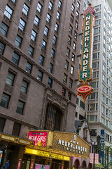 The large sign and marquee of the recently renamed James M. Nederlander Theatre in the Loop area of Chicago