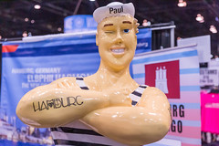 The figure of sailor Paul on display in Chicago to mark the partnership between Hamburg in Germany and the city in Illinois
