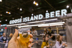 Tasting American craft beer Goose Island served in small plastic cups at a special stall in Chicago