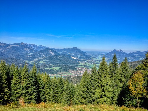 View of the river Inn valley from Kufstein's Stadtberg mountain in Tyrol, Austria