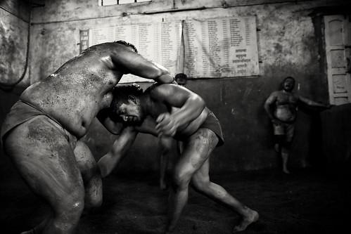 India, traditional mud wrestler