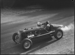 Jack Murray driving his Bugatti Ford racing car, Grand Prix, Bathurst, October 1946
