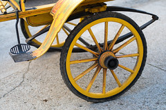 Close-up of a wheel on a horse carriage