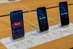 Handy-Ausstellungsstücke der neuen Apple iPhone 11, Pro und Pro Max Modelle