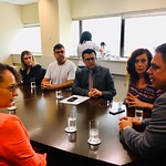 Deputada estadual Luciana Genro (PSOL) em reunião no MP sobre o Imesf