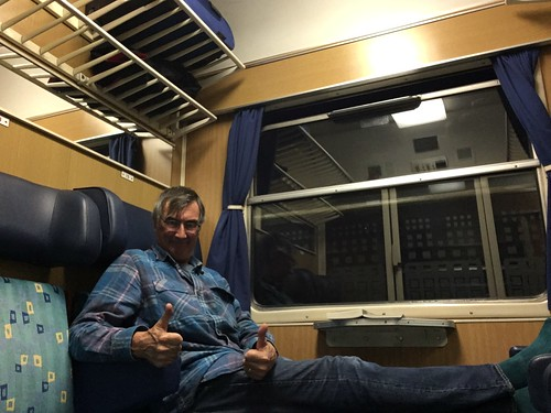 Me, relaxing on the Villach to Ljubljana train before all the lights failed.
