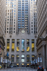 Skyscraper and landmark on LaSalle Street: Chicago Board of Trade building