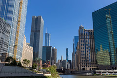 333 Wacker Drive (on the right-hand side of the photo) and other skyscrapers in Downtown Chicago seen from the river during a sightseeing boat trip