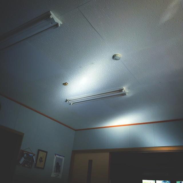 Photo:障害者就労継続支援B型の天井の太陽反射光。発達障害のアスペルガー/自閉症スペクトラムASDで光るものこもれび等好きで見てると落ち着き安心。でも銅線被覆剥離作業でモック型サンダル壊し帰りに100均で250円+消費税10%で購入。B型なので時給100円位の工賃だし痛ぃ。100均はプレミアム付商品券使えぬし  #snapseed By Atsushi Boulder