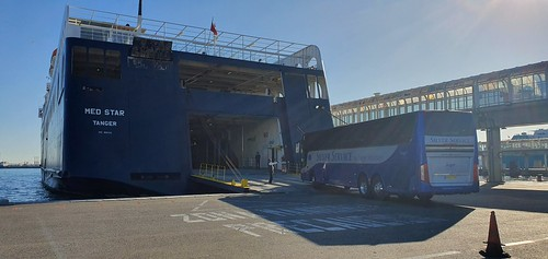 Boarding the Algeciras to Tangier ferry.