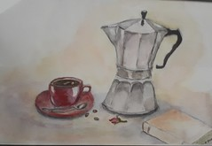 #Watercolour #stilllife #art #buddingartist #espressomaker #coffeecup #rosebud #book