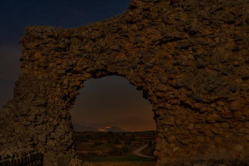 night view from ancient Roman ruins of Peltuinum, Castelnuovo, Italia