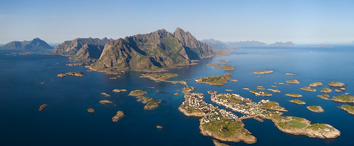 Panorama of fishing village on lofotens, Norway