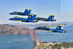 The Blue Angels fly over San Francisco during the 2019 San Francisco Fleet Week Air Show.