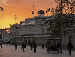 Sunrise at Cardiff Central station, Wales, UK