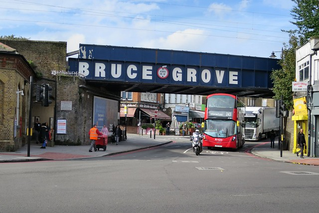 Bruce Grove Railway Bridge and station entrance.