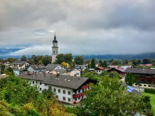 Autumnal rain clouds hanging over Kiefersfelden, Bavaria, Germany